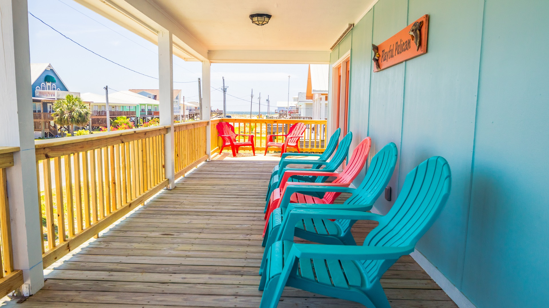 Enjoy sitting on the deck and watch the pelicans fly by.